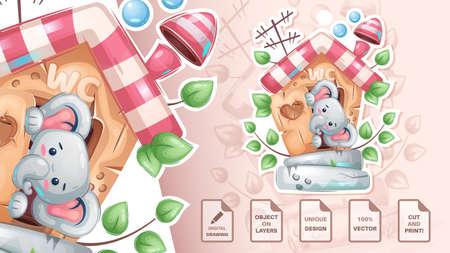 Elepfant in the toilet - cute sticker