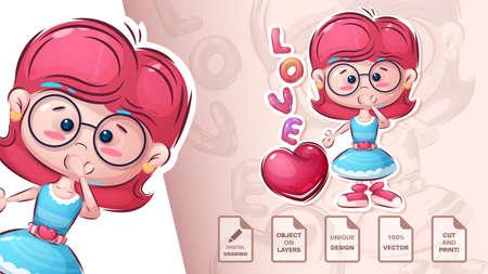 Love pretty girl - cute sticker Vettoriali