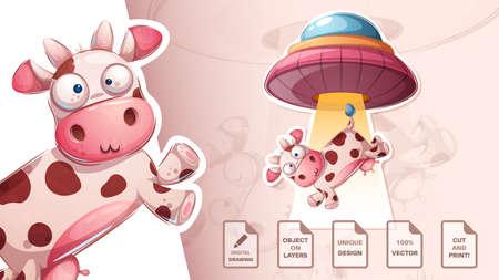 Crazy ufo cow - cute sticker