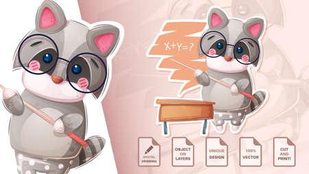 Raccoon teaches algebra - cute sticker