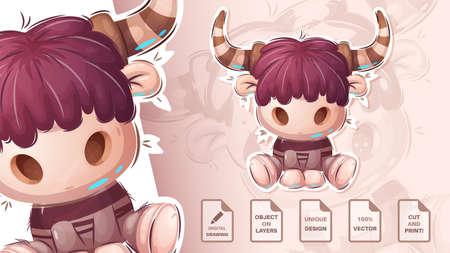 Crazy pretty bull - cute sticker Vettoriali