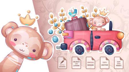 Monkey travel in the car - cute sticker