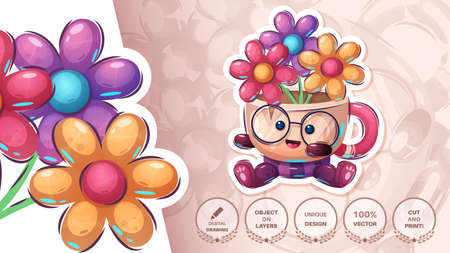 Cup with flower - cute sticker