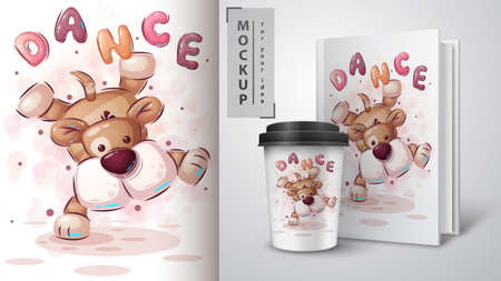 Dance dog - poster and merchandising. Фото со стока - 155144233
