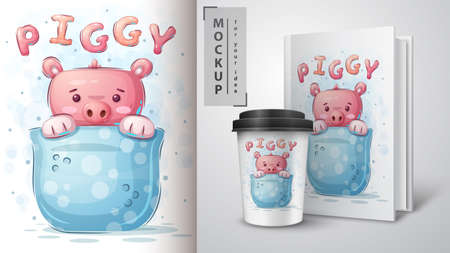 Pig in cup - poster and merchandising.