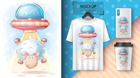 Lamb ufo - poster and merchandising.
