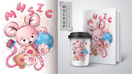 Mouse with microphone - poster and merchandising.