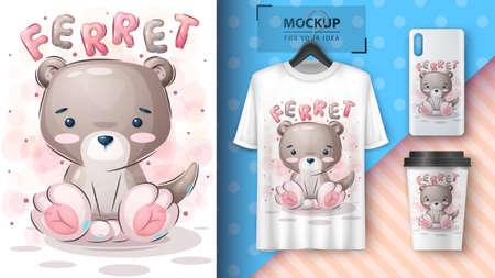Teddy ferret- poster and merchandising. Vettoriali
