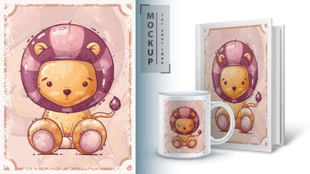 Cute lion poster and merchandising Vettoriali