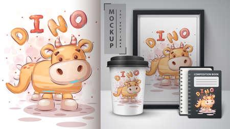 Teddy dinosaur - poster and merchandising.