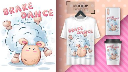 Dance lamb - poster and merchandising. Иллюстрация