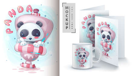 Panda in the toilet - poster and merchandising.