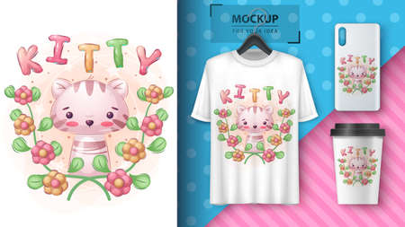 Kitty in flower - poster and merchandising.