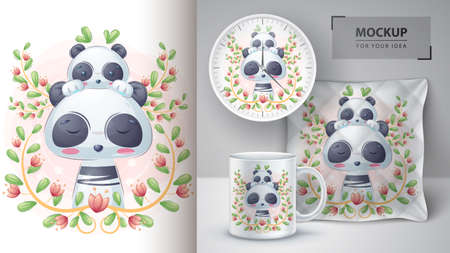 Pretty panda with baby - poster and merchandising.