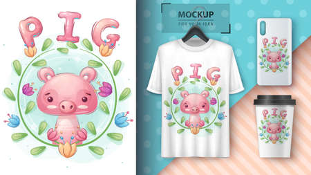 Cute pig in forest - poster and merchandising.