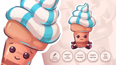 Cute ice cream character - funny sticker