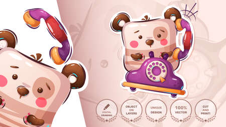 Teddy bear calls on the old phone - cute sticker