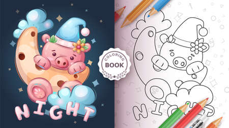 Pig in the moon - coloring book 向量圖像