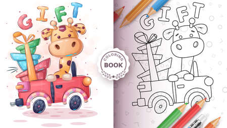 Giraffer in the car - coloring book 向量圖像