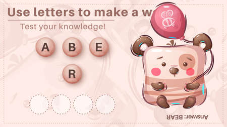 Cute bear - game for kids, make a word from letters