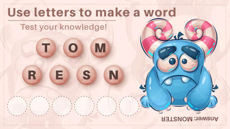 Cute dino - game for kids, make a word from letters 向量圖像