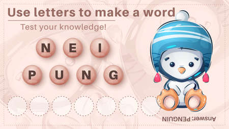 Cute penguin - game for kids, make a word from letters 向量圖像