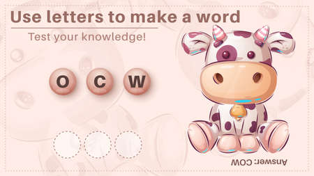 Cute cow - game for kids, make a word from letters 向量圖像