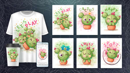 Set cute illustration - cartoon cactus emotion