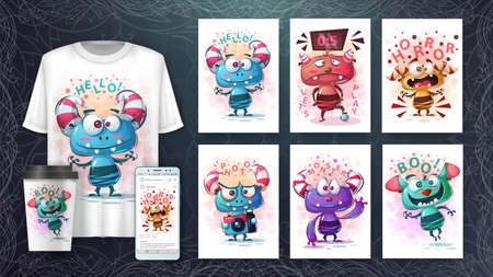 Cute monsters poster and merchandising. Vector eps 10