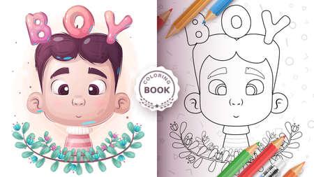 Cute cartoon boy - coloring page