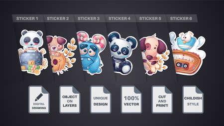 Set sticker - dog, puppy, panda, diplomat, pumpkin, monster