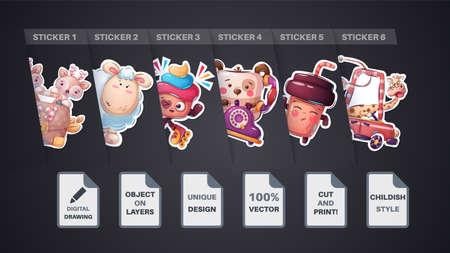 Set cute sticker tea, coffee, deer, diplomat, giraffe, car, lamb, sheep, bear, phone, cake