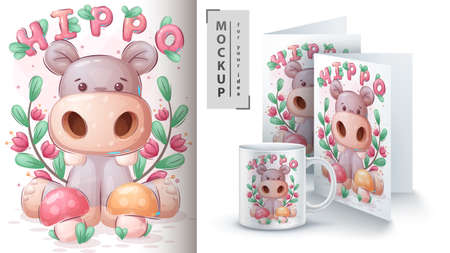 Hippo with mushroom poster and merchandising