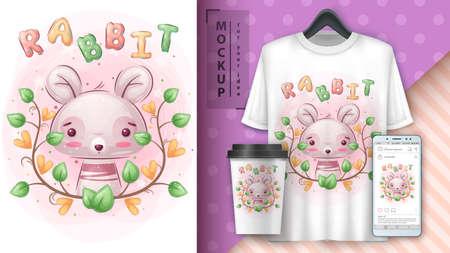 Pretty rabbit - poster and merchandising.