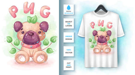 Pug in leaf poster and merchandising.
