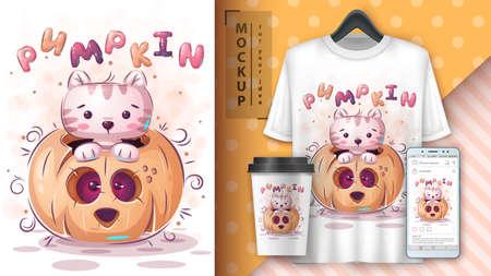 Cat in pumpkin - poster and merchandising. 矢量图像