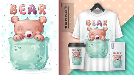 Bear in cup poster and merchandising.
