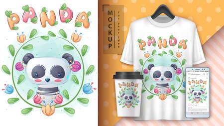 Panda in flower - poster and merchandising.