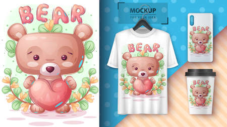 Bear with heart poster and merchandising. 矢量图像