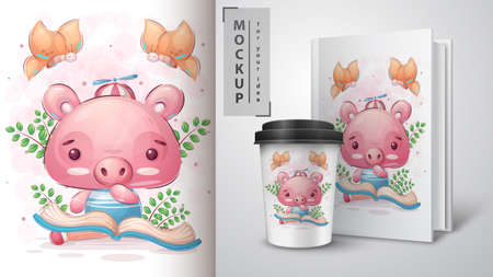 Pig read book poster and merchandising.