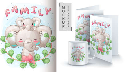 Elephant family - poster and merchandising.