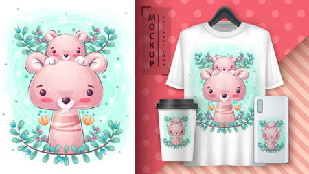 Mouse in leaf poster and merchandising. 矢量图像