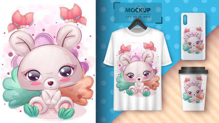 Cute mouse poster and merchandising. 矢量图像
