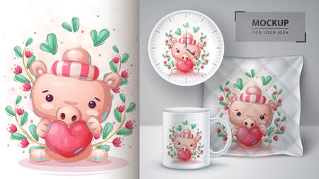Pig with heart poster and merchandising.