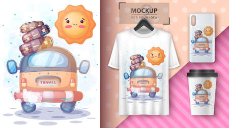 Cute travel with sun poster and merchandising. 矢量图像