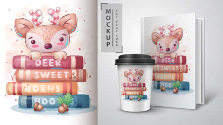Deer reads books poster and merchandising. 矢量图像