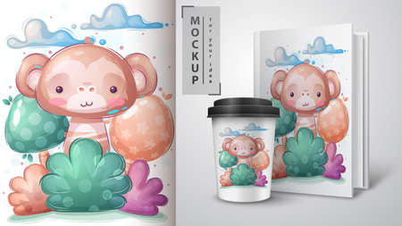 Monkey in bush poster and merchandising. 矢量图像
