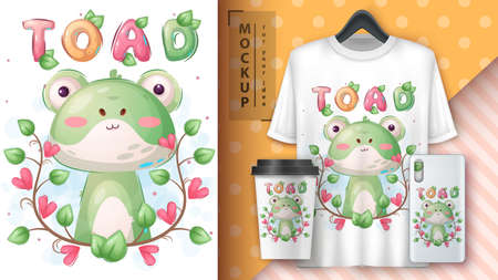 Cute toad in flower poster and merchandising. 矢量图像