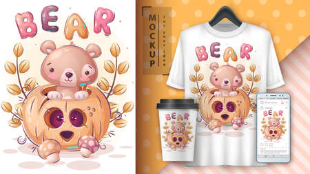 Bear halloween pumpkin poster and merchandising. 矢量图像