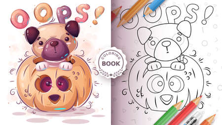 Dog in pampkin - coloring book for kids and children